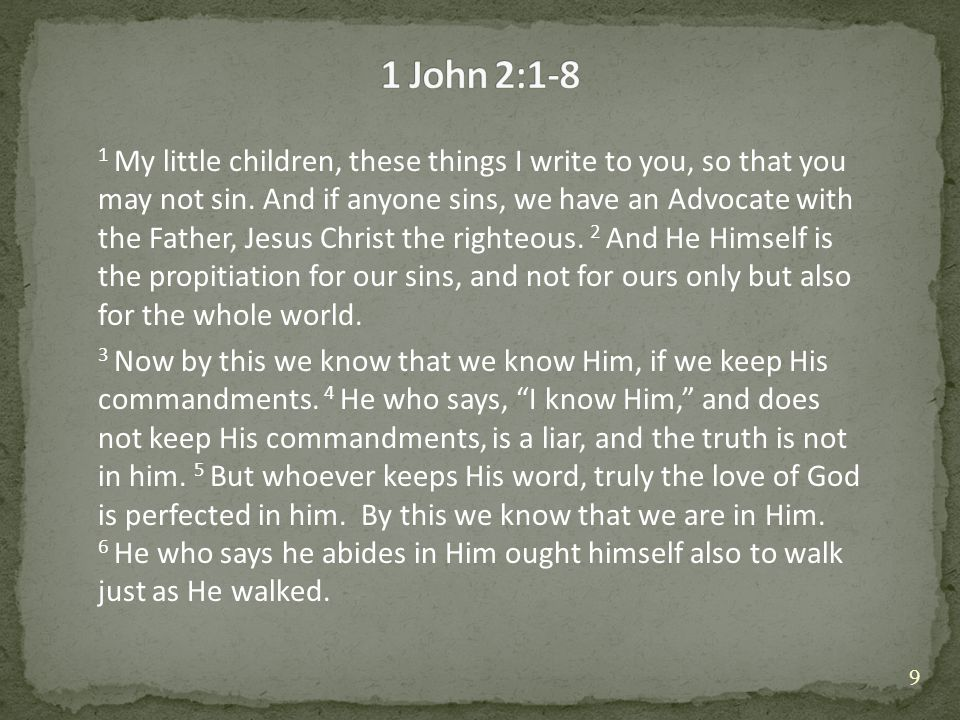 1 My little children, these things I write to you, so that you may not sin.