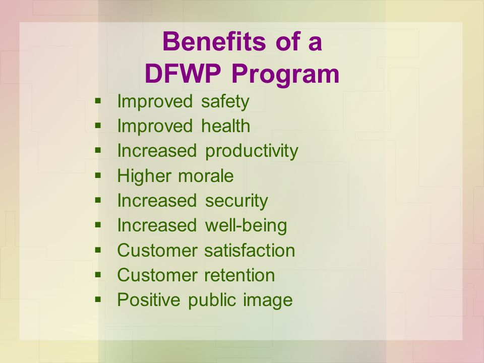 Benefits of a DFWP Program  Improved safety  Improved health  Increased productivity  Higher morale  Increased security  Increased well-being  Customer satisfaction  Customer retention  Positive public image