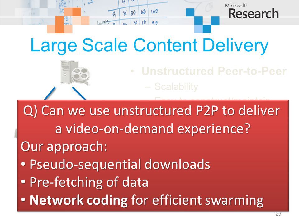 Large Scale Content Delivery Unstructured Peer-to-Peer –Scalability –Easy to construct/maintain Typical applications: –File distribution E.g.