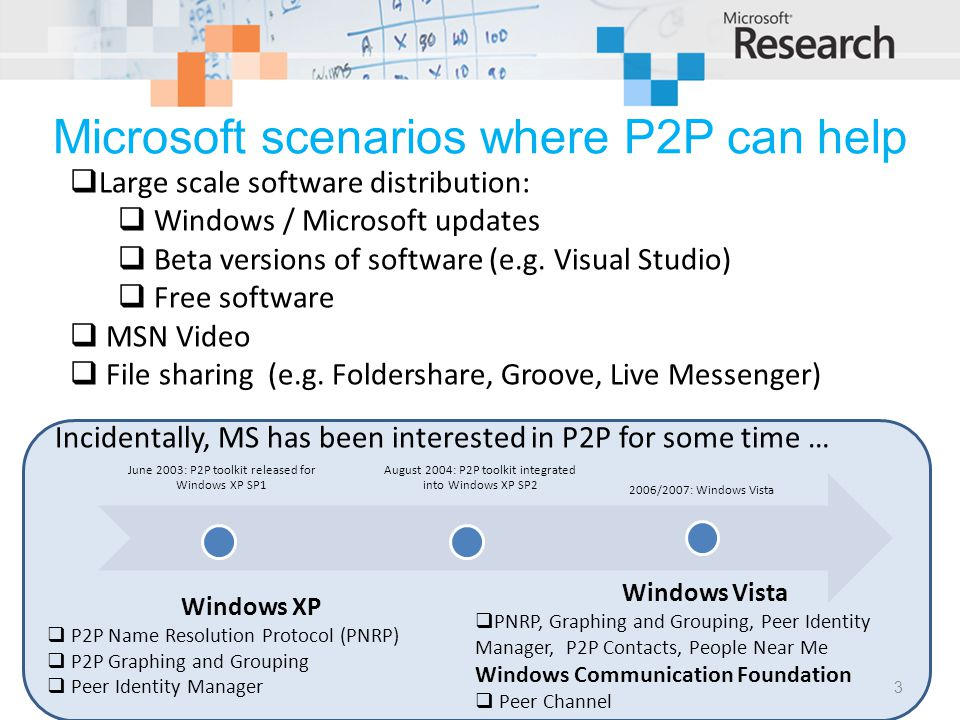 Microsoft scenarios where P2P can help  Large scale software distribution:  Windows / Microsoft updates  Beta versions of software (e.g.