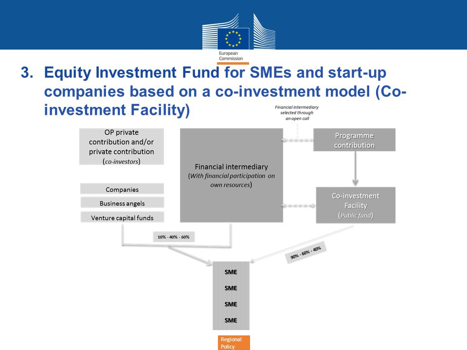 Regional Policy 3.Equity Investment Fund for SMEs and start-up companies based on a co-investment model (Co- investment Facility)