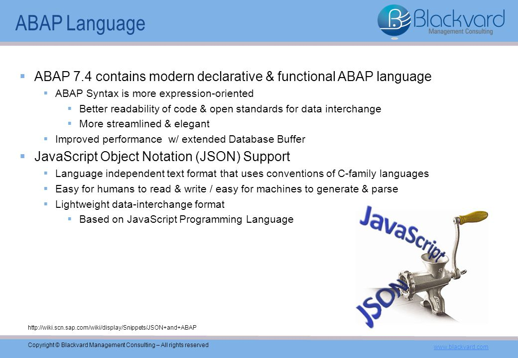 Blackvard Management Consulting ABAP 7 4 – What's New