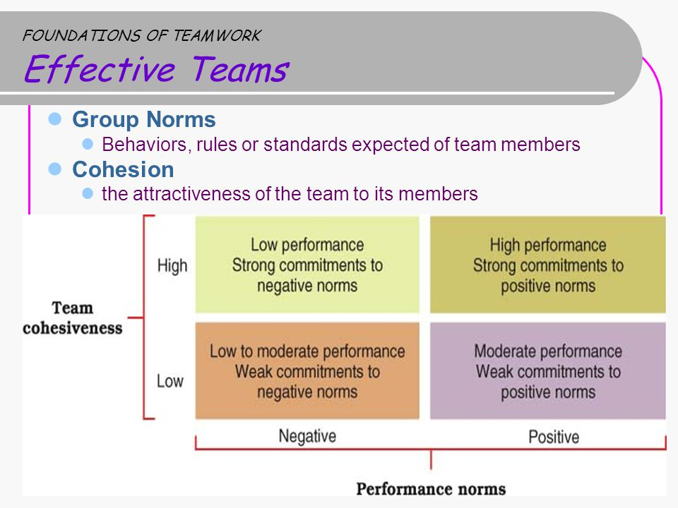 Group Norms Behaviors, rules or standards expected of team members Cohesion the attractiveness of the team to its members