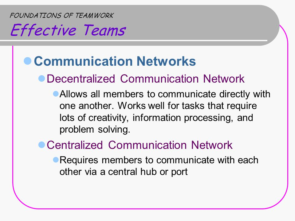Communication Networks Decentralized Communication Network Allows all members to communicate directly with one another.