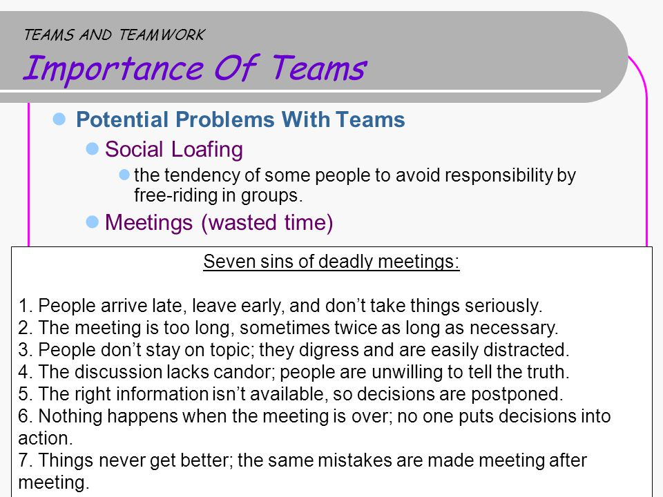 TEAMS AND TEAMWORK Importance Of Teams Potential Problems With Teams Social Loafing the tendency of some people to avoid responsibility by free-riding in groups.