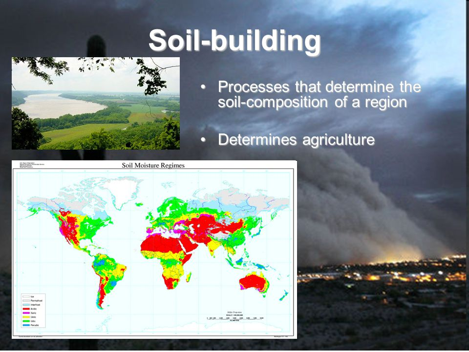 Soil-building Processes that determine the soil-composition of a region Determines agriculture