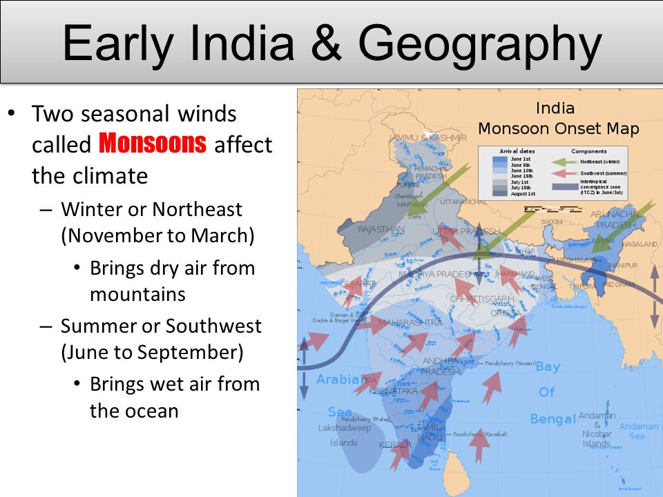 Two seasonal winds called Monsoons affect the climate – Winter or Northeast (November to March) Brings dry air from mountains – Summer or Southwest (June to September) Brings wet air from the ocean Early India & Geography