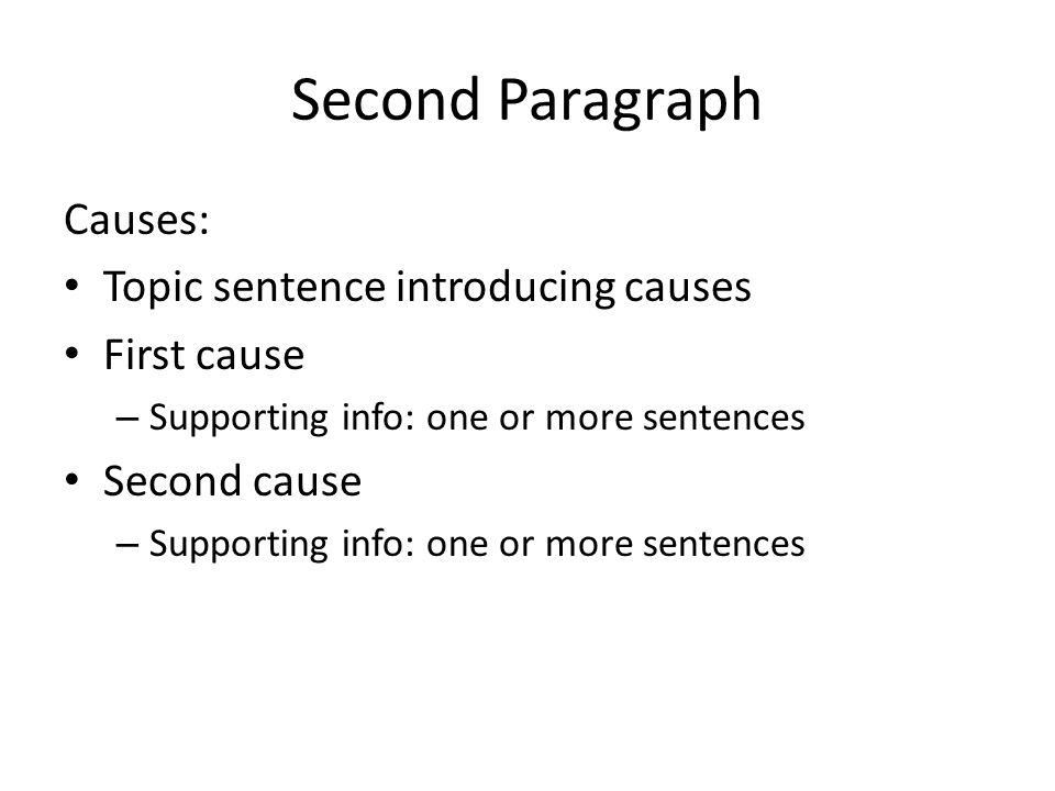 Science Fiction Essay Topics  Second Paragraph Causes Topic Sentence Introducing Causes First Cause   Supporting Info One Or More Sentences Second Cause  Supporting Info One  Or  Essay Paper Writing Service also Thesis Essay Topics Cause And Effect Essays Cause And Effect Its Simple Just Four  Essay In English For Students