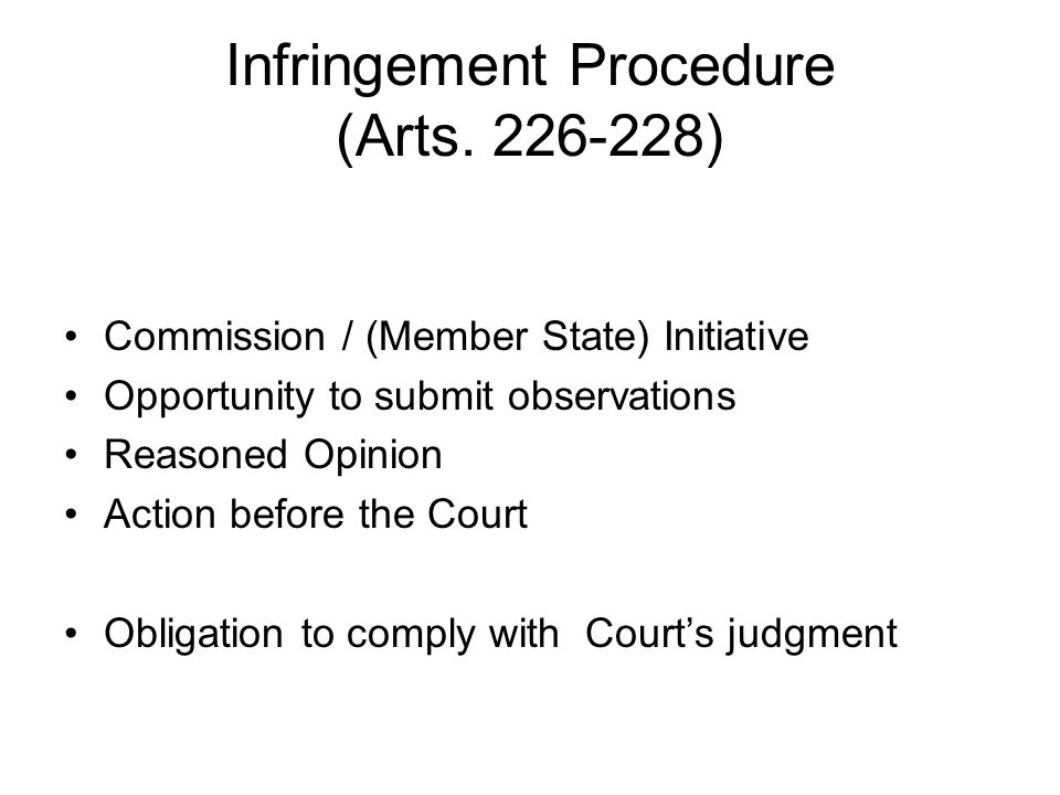Infringement Procedure (Arts.