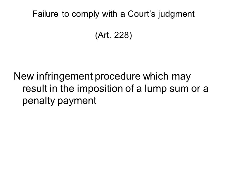 Failure to comply with a Court's judgment (Art.