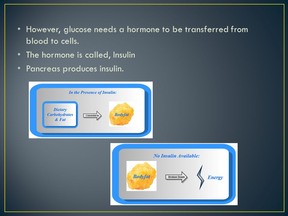 However, glucose needs a hormone to be transferred from blood to cells.