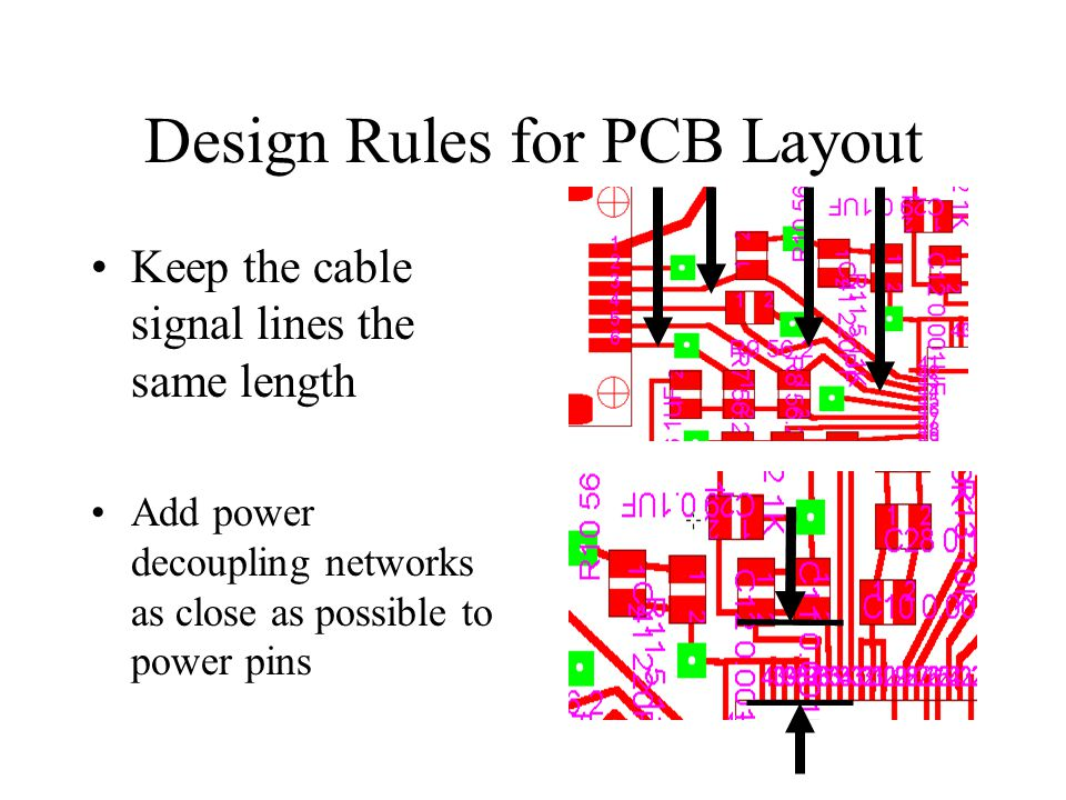 Design Rules for PCB Layout Keep the cable signal lines the same length Add power decoupling networks as close as possible to power pins