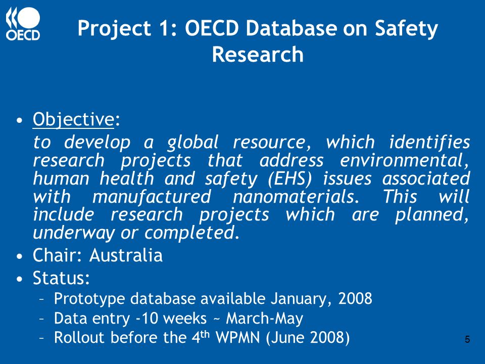 5 Project 1: OECD Database on Safety Research Objective: to develop a global resource, which identifies research projects that address environmental, human health and safety (EHS) issues associated with manufactured nanomaterials.