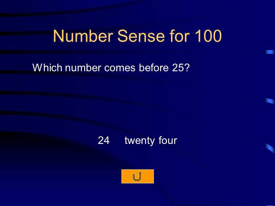 Number Sense for 100 Which number comes before twenty four