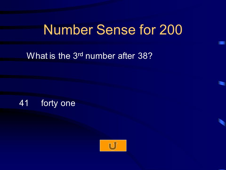 Number Sense for 200 What is the 3 rd number after forty one