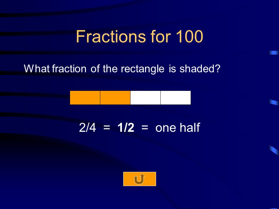 Fractions for 100 What fraction of the rectangle is shaded 2/4 = 1/2 = one half