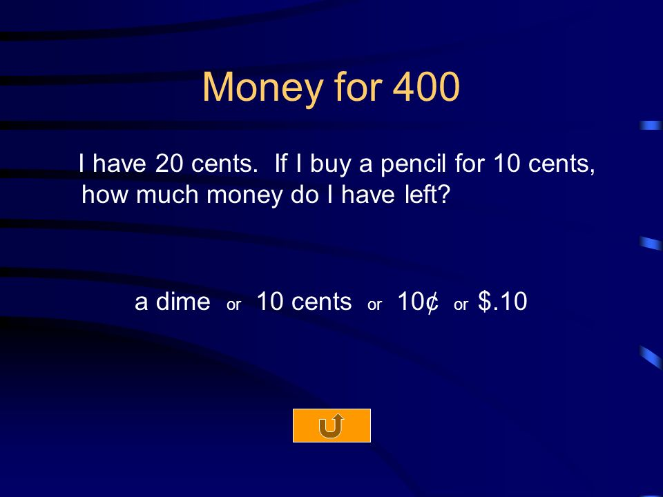Money for 400 I have 20 cents. If I buy a pencil for 10 cents, how much money do I have left.