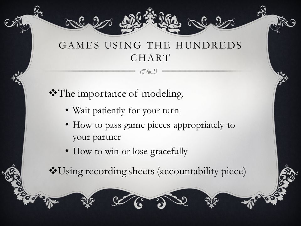 GAMES USING THE HUNDREDS CHART  The importance of modeling.