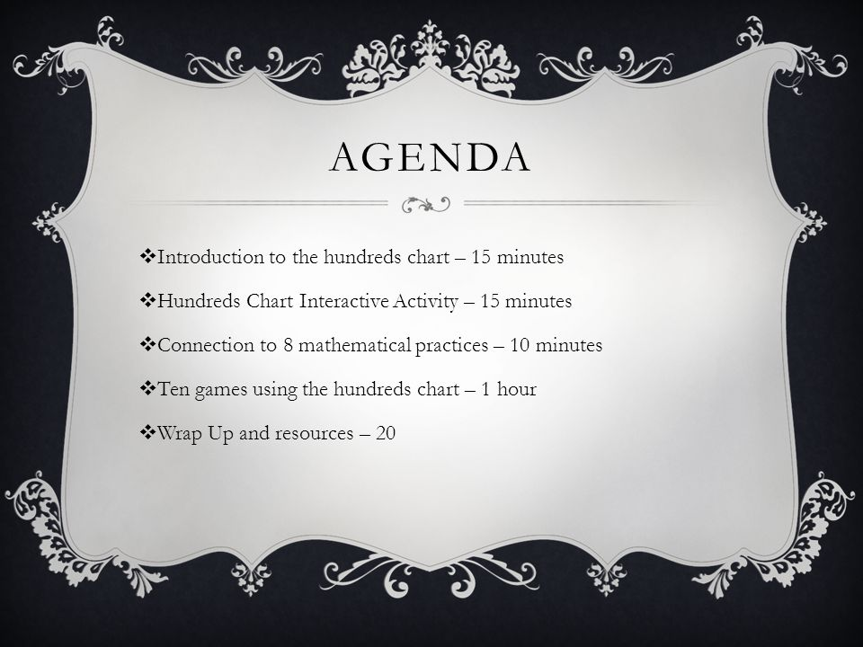 AGENDA  Introduction to the hundreds chart – 15 minutes  Hundreds Chart Interactive Activity – 15 minutes  Connection to 8 mathematical practices – 10 minutes  Ten games using the hundreds chart – 1 hour  Wrap Up and resources – 20