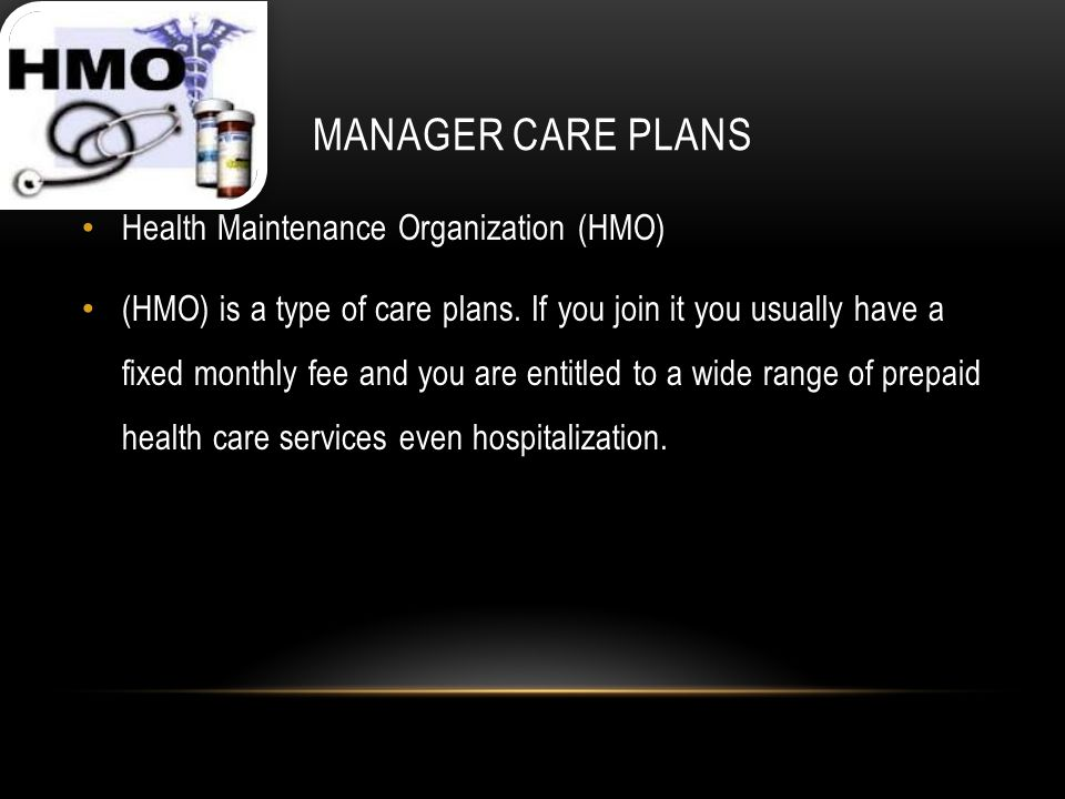 MANAGER CARE PLANS Health Maintenance Organization (HMO) (HMO) is a type of care plans.