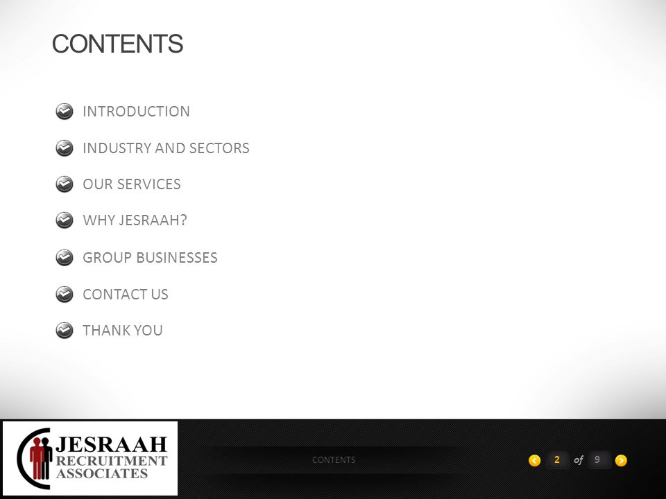 CONTENTS 2of9 INTRODUCTION INDUSTRY AND SECTORS OUR SERVICES WHY JESRAAH.
