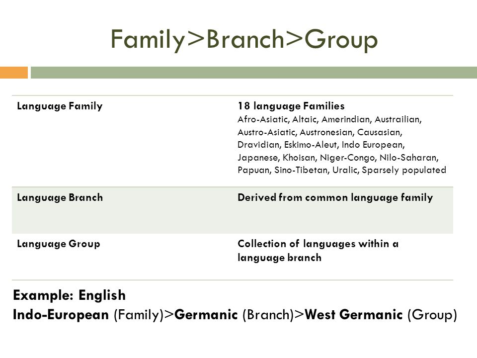Family>Branch>Group Language Family18 language Families Afro-Asiatic, Altaic, Amerindian, Austrailian, Austro-Asiatic, Austronesian, Causasian, Dravidian, Eskimo-Aleut, Indo European, Japanese, Khoisan, Niger-Congo, Nilo-Saharan, Papuan, Sino-Tibetan, Uralic, Sparsely populated Language BranchDerived from common language family Language GroupCollection of languages within a language branch Example: English Indo-European (Family)>Germanic (Branch)>West Germanic (Group)