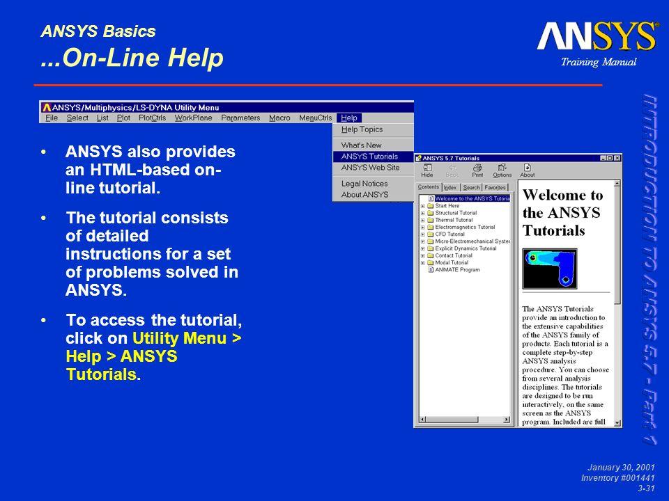 ANSYS Basics Module 3  Training Manual January 30, 2001