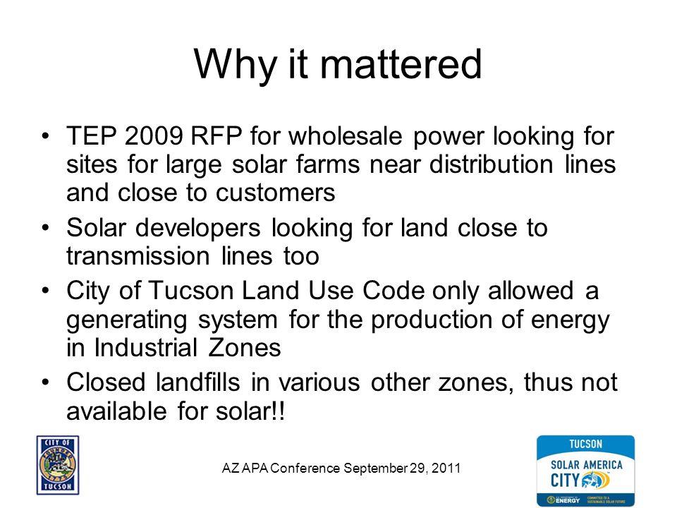 AZ APA Conference September 29, 2011 Solving a Solar Land