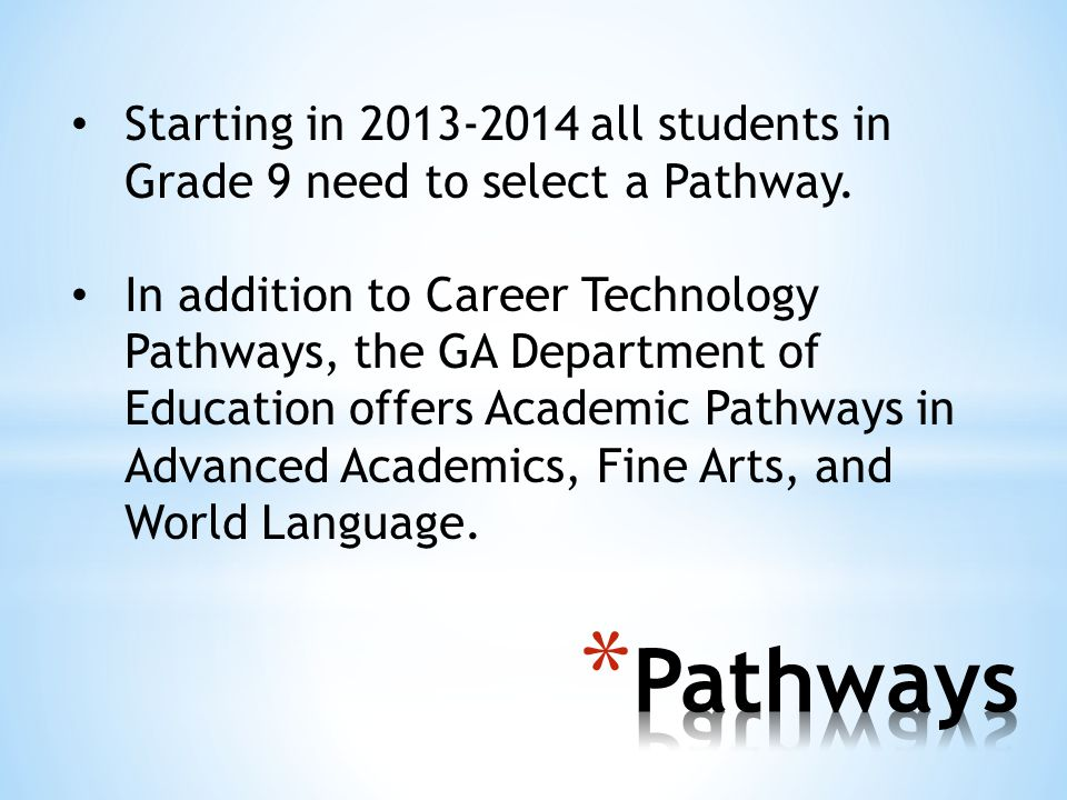 Starting in all students in Grade 9 need to select a Pathway.