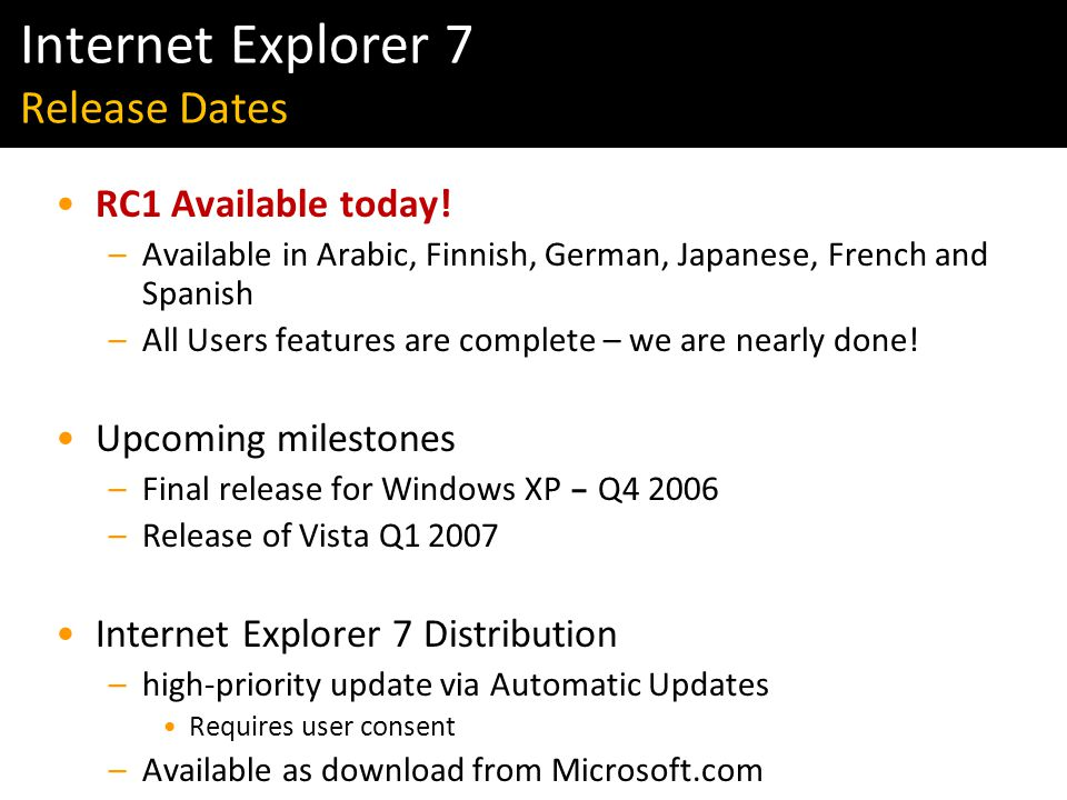Windows Vista & IE7 Readiness Tour RC1 Available today.