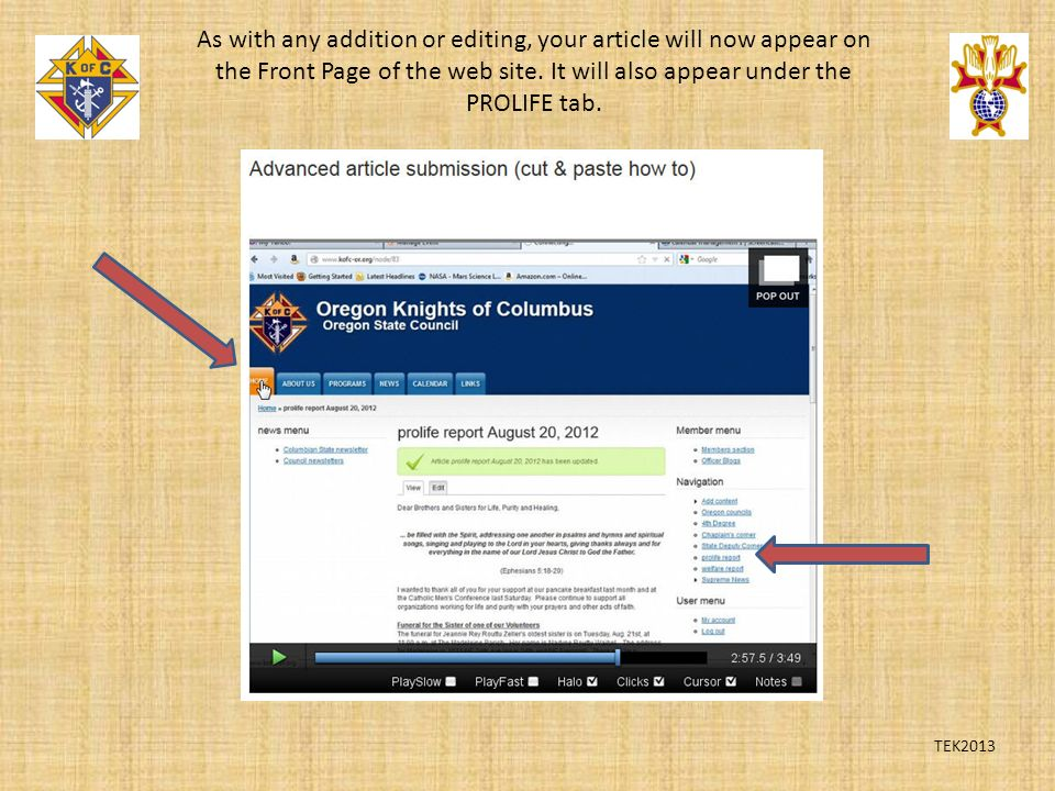 TEK2013 As with any addition or editing, your article will now appear on the Front Page of the web site.