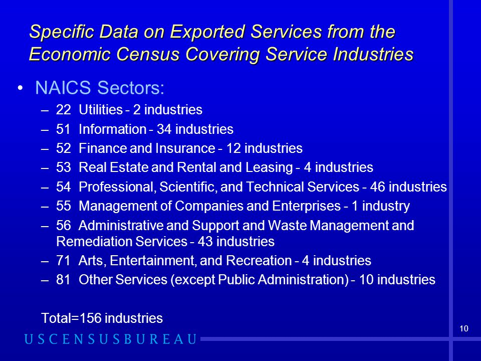 10 Specific Data on Exported Services from the Economic Census Covering Service Industries NAICS Sectors: –22 Utilities - 2 industries –51 Information - 34 industries –52 Finance and Insurance - 12 industries –53 Real Estate and Rental and Leasing - 4 industries –54 Professional, Scientific, and Technical Services - 46 industries –55 Management of Companies and Enterprises - 1 industry –56 Administrative and Support and Waste Management and Remediation Services - 43 industries –71 Arts, Entertainment, and Recreation - 4 industries –81 Other Services (except Public Administration) - 10 industries Total=156 industries