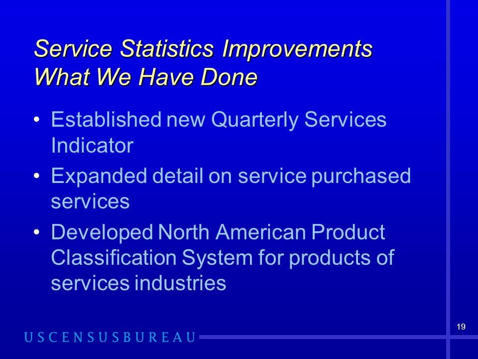 19 Service Statistics Improvements What We Have Done Established new Quarterly Services Indicator Expanded detail on service purchased services Developed North American Product Classification System for products of services industries