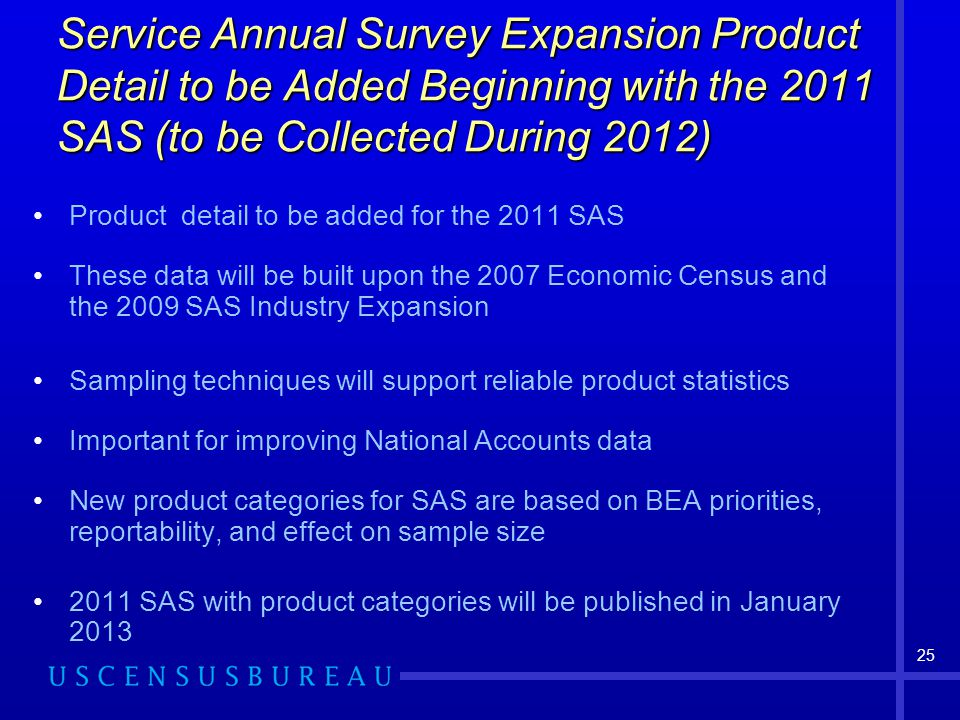 25 Service Annual Survey Expansion Product Detail to be Added Beginning with the 2011 SAS (to be Collected During 2012) Product detail to be added for the 2011 SAS These data will be built upon the 2007 Economic Census and the 2009 SAS Industry Expansion Sampling techniques will support reliable product statistics Important for improving National Accounts data New product categories for SAS are based on BEA priorities, reportability, and effect on sample size 2011 SAS with product categories will be published in January 2013