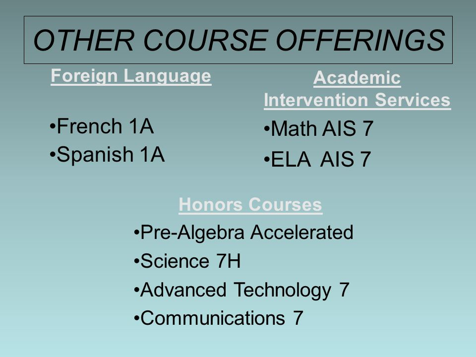 OTHER COURSE OFFERINGS Foreign Language French 1A Spanish 1A Academic Intervention Services Math AIS 7 ELA AIS 7 Honors Courses Pre-Algebra Accelerated Science 7H Advanced Technology 7 Communications 7