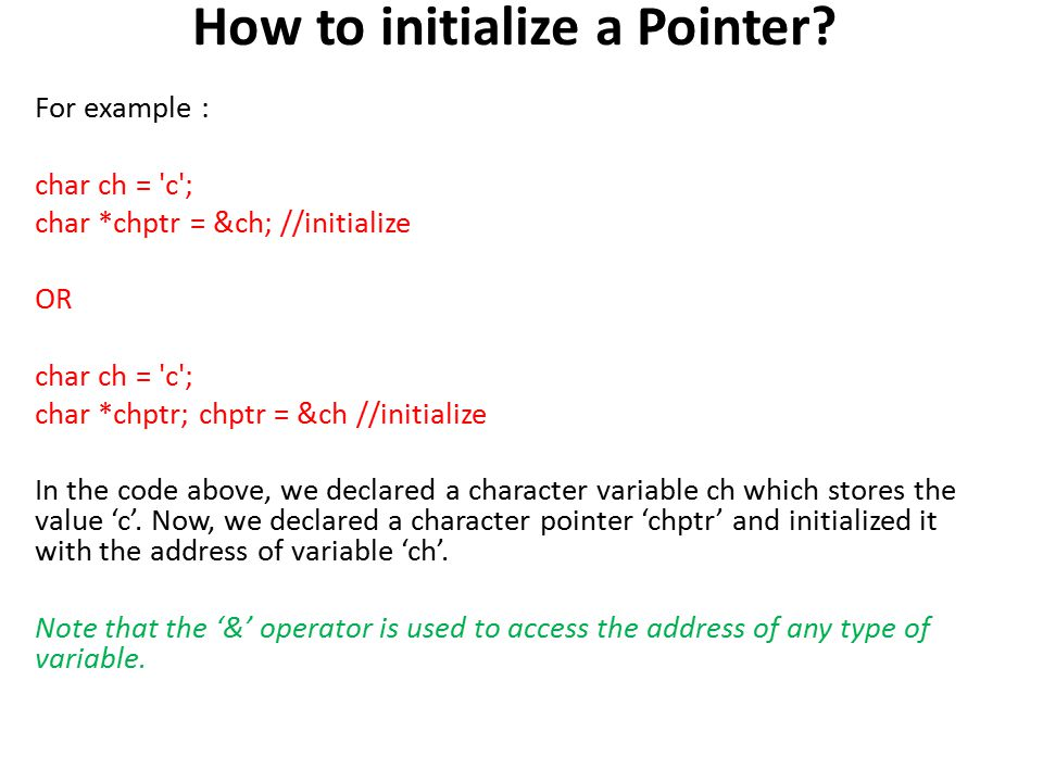 What are Pointers? Different from other normal variables which can