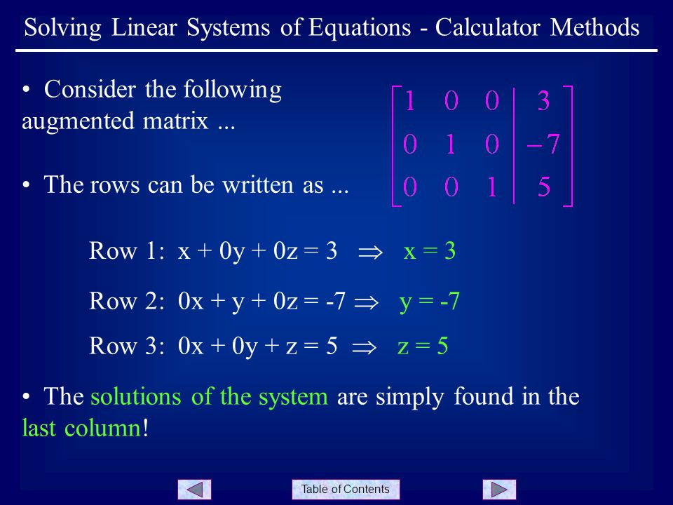 System solver and calculator for solving systems of linear.