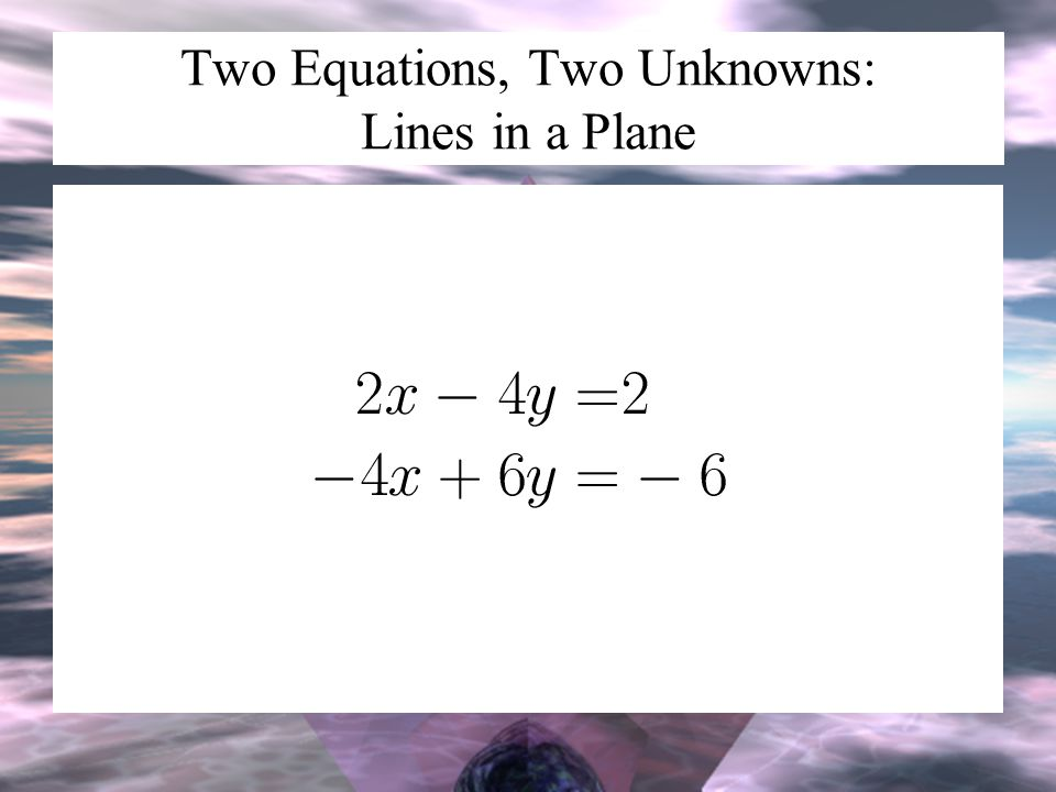 Two Equations, Two Unknowns: Lines in a Plane
