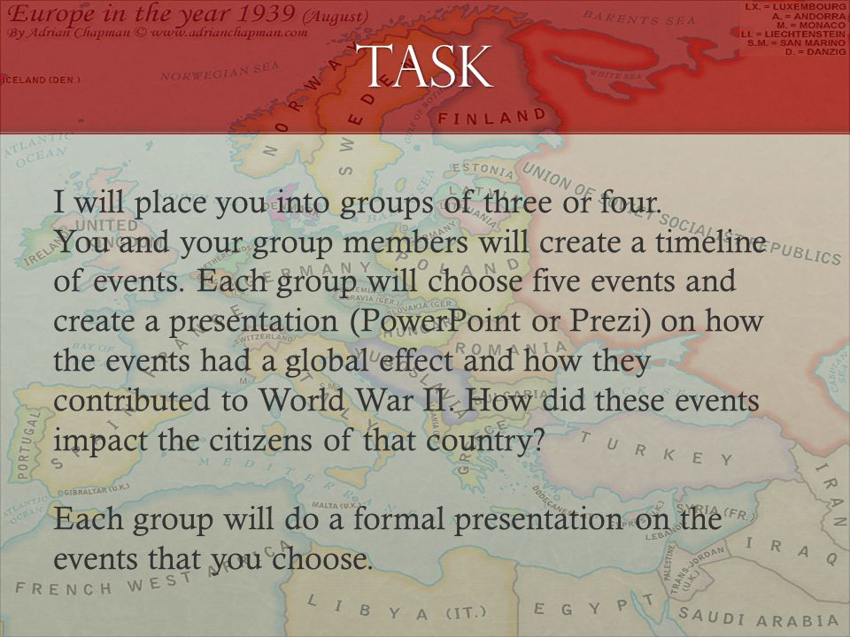 Task I will place you into groups of three or four.