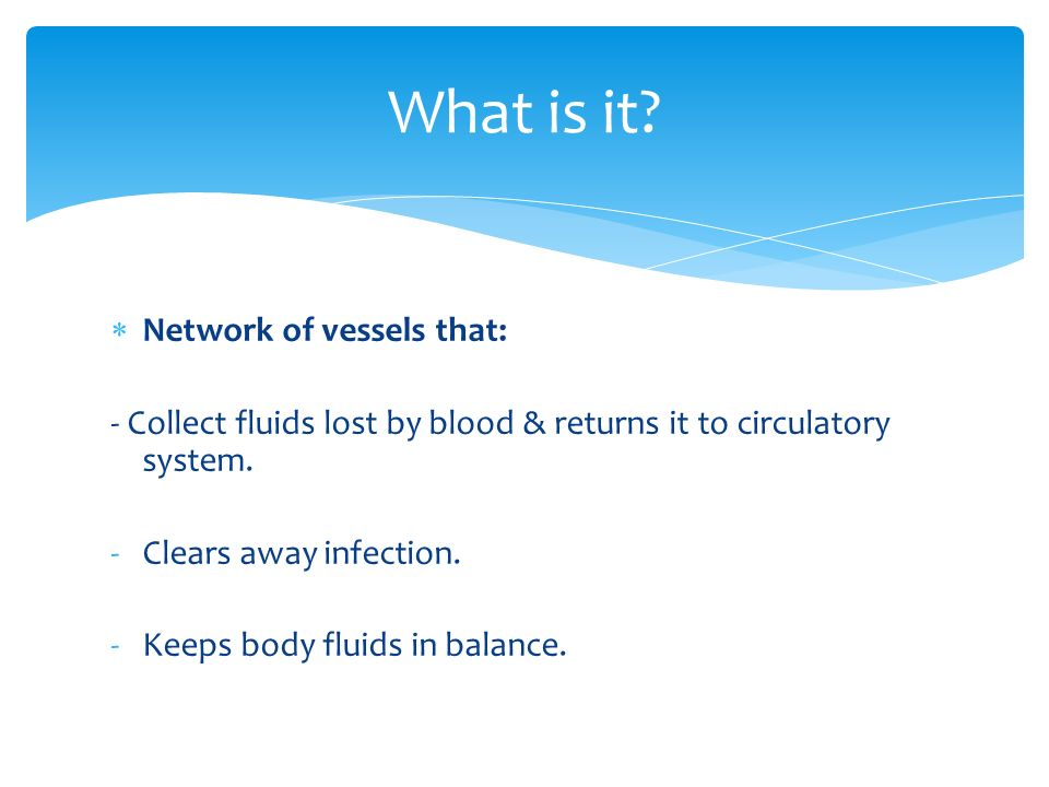  Network of vessels that: - Collect fluids lost by blood & returns it to circulatory system.
