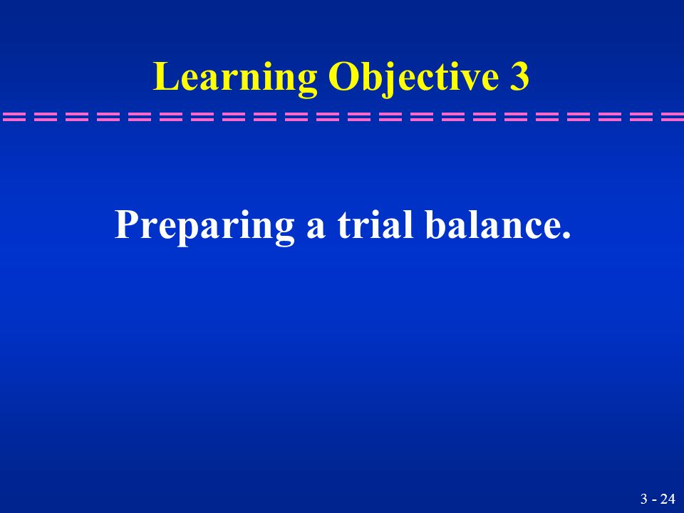 Learning Objective 3 Preparing a trial balance.