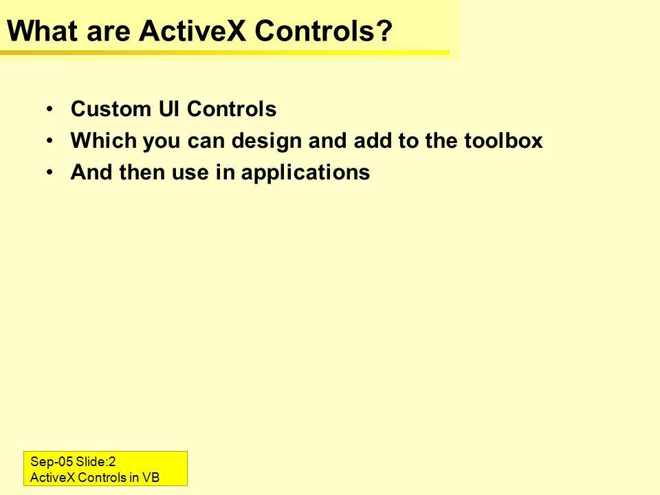 Sep-05 Slide:1 ActiveX Controls in VB ActiveX Controls in VB6  - ppt
