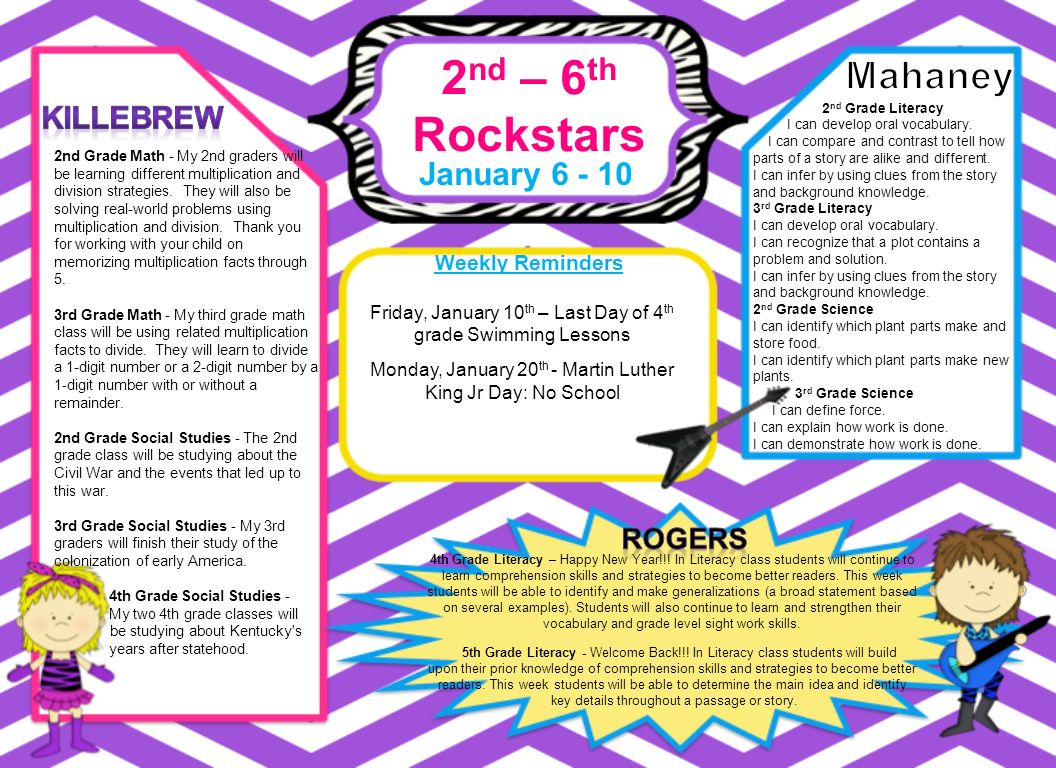 2 nd – 6 th Rockstars January Weekly Reminders 4th Grade Literacy ...