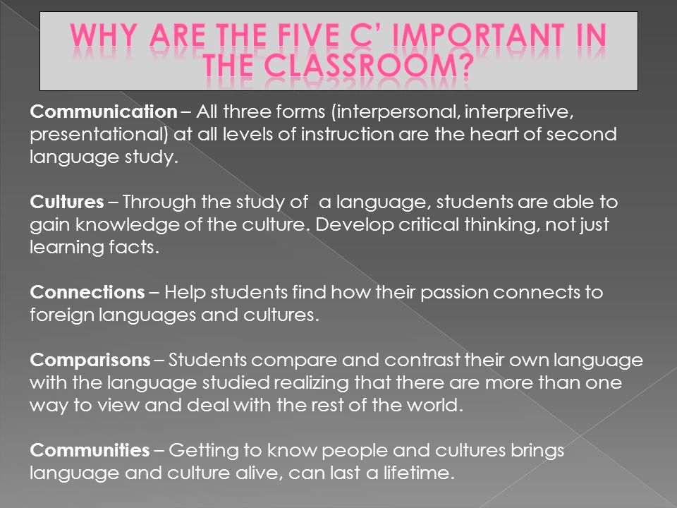 Communication – All three forms (interpersonal, interpretive, presentational) at all levels of instruction are the heart of second language study.