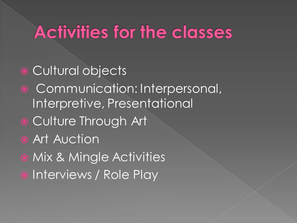  Cultural objects  Communication: Interpersonal, Interpretive, Presentational  Culture Through Art  Art Auction  Mix & Mingle Activities  Interviews / Role Play