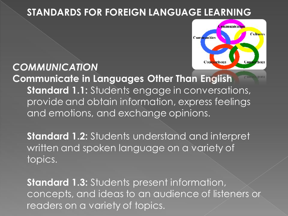 STANDARDS FOR FOREIGN LANGUAGE LEARNING COMMUNICATION Communicate in Languages Other Than English Standard 1.1: Students engage in conversations, provide and obtain information, express feelings and emotions, and exchange opinions.