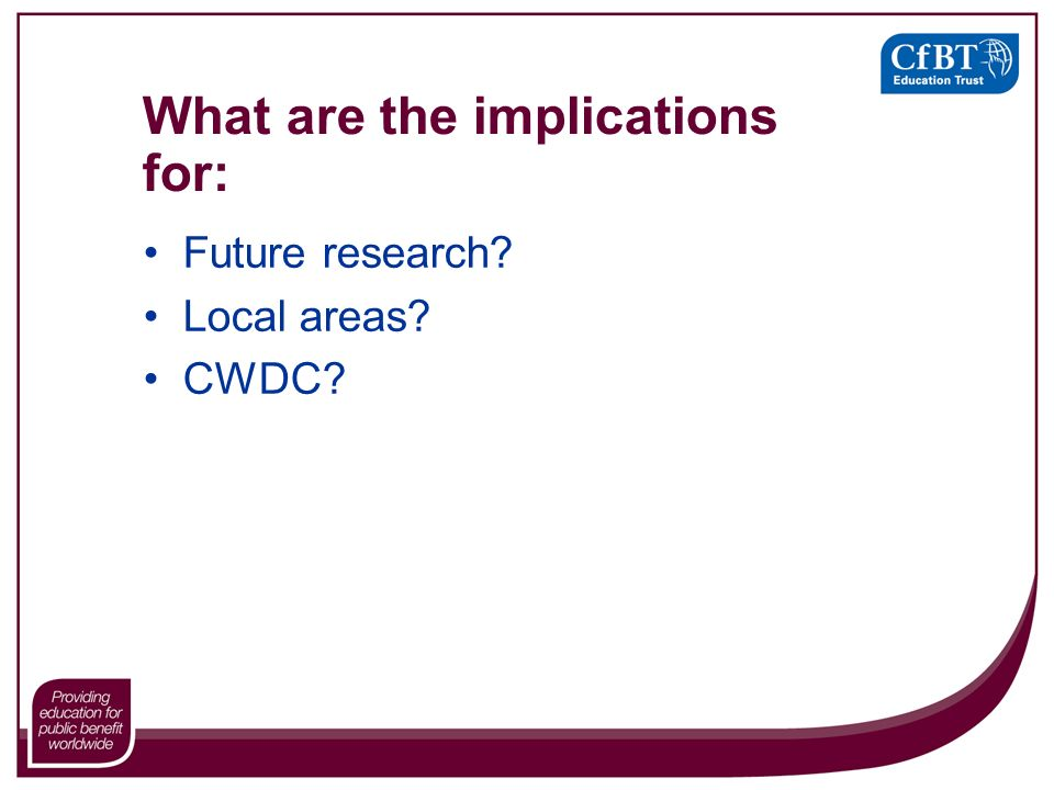 What are the implications for: Future research Local areas CWDC