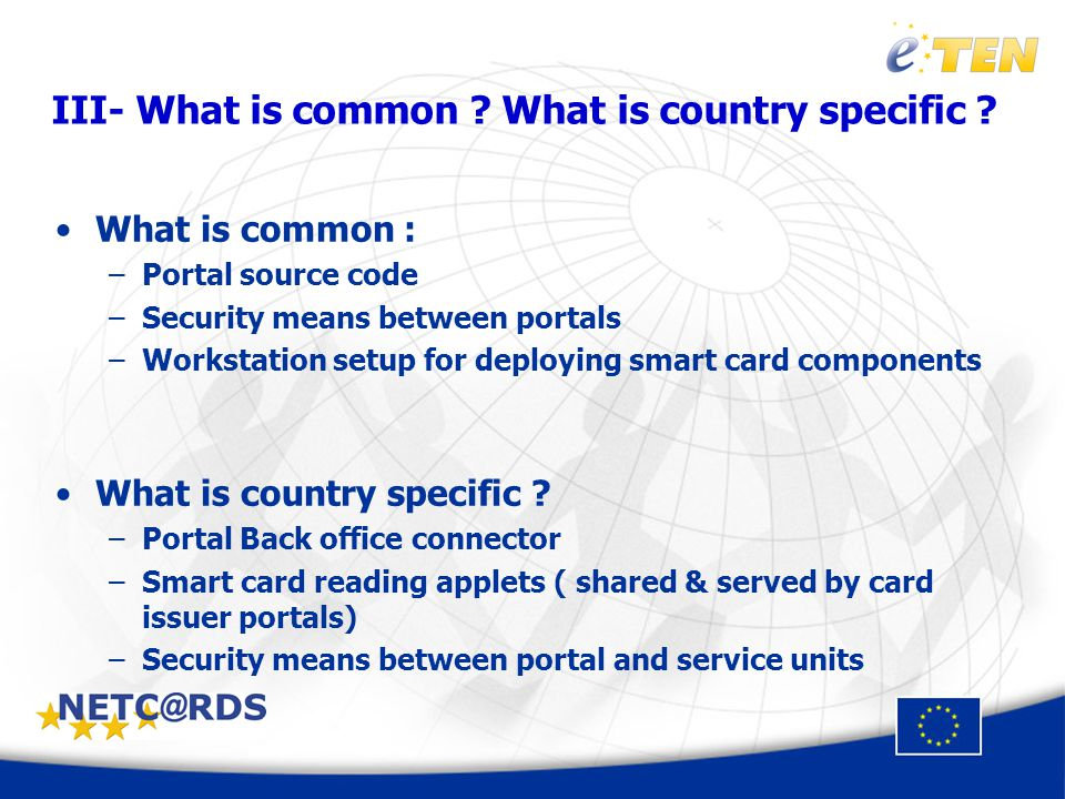 III- What is common . What is country specific .