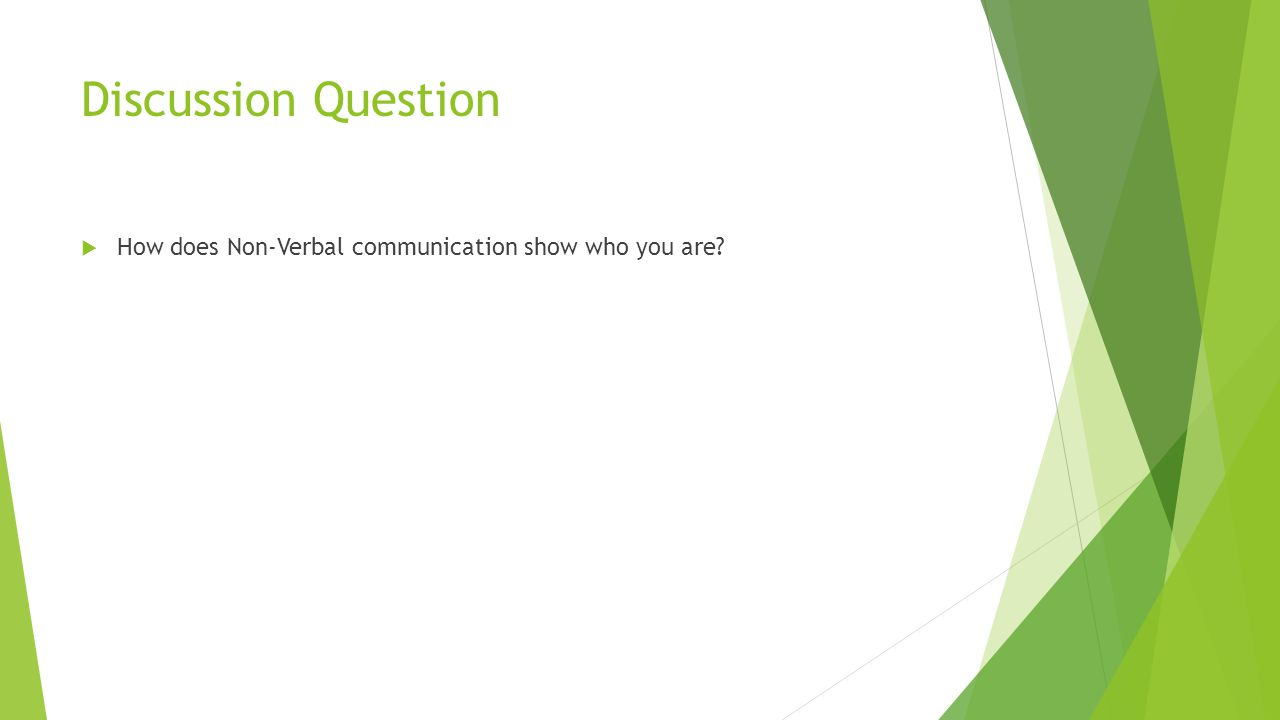 Discussion Question  How does Non-Verbal communication show who you are