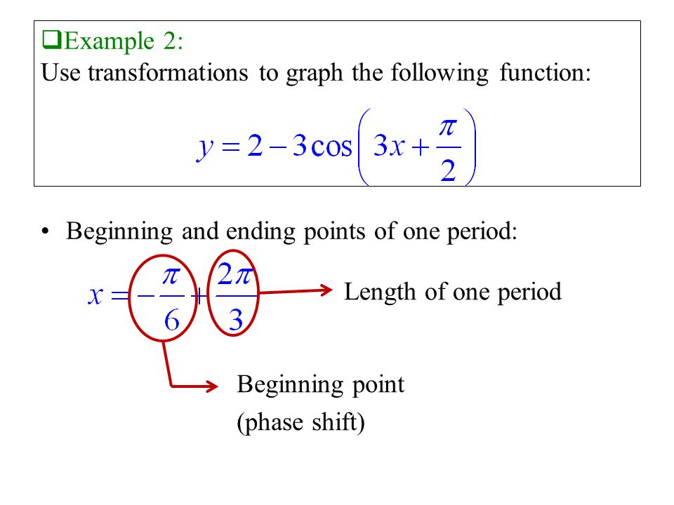  Example 2: Use transformations to graph the following function: Beginning and ending points of one period: Length of one period Beginning point (phase shift)